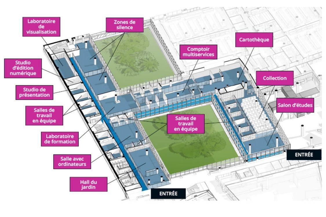 Plan du pavillon de la bibliothèque